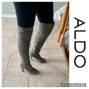 Aldo High Over The Knee Suede Gray Boots Tall 9